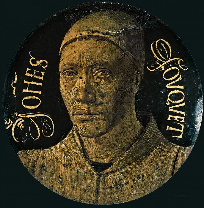 Fouquet, Jean -- Self-portrait of Fouquet (1450), copper, blue enamel and gold. Only remaining piece of a diptych ordered for the church of Notre-Dame in Melun by Etienne Chevalier, secretary and counsellor to French king Charles VII. Diameter 6.8 cm-OA 56. Part 5 Louvre