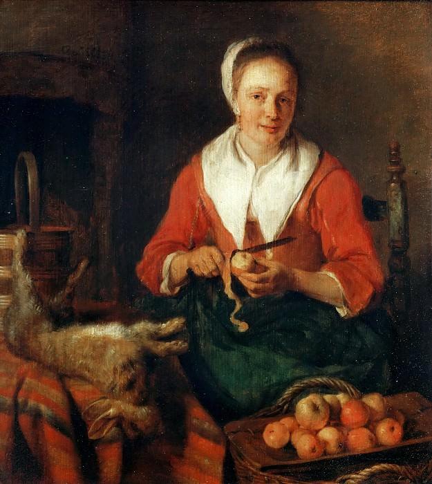 Метсю, Габриель (1629 Лейден - 1667 Амстердам) -- Женщина, чистящая яблоки. часть 5 Лувр