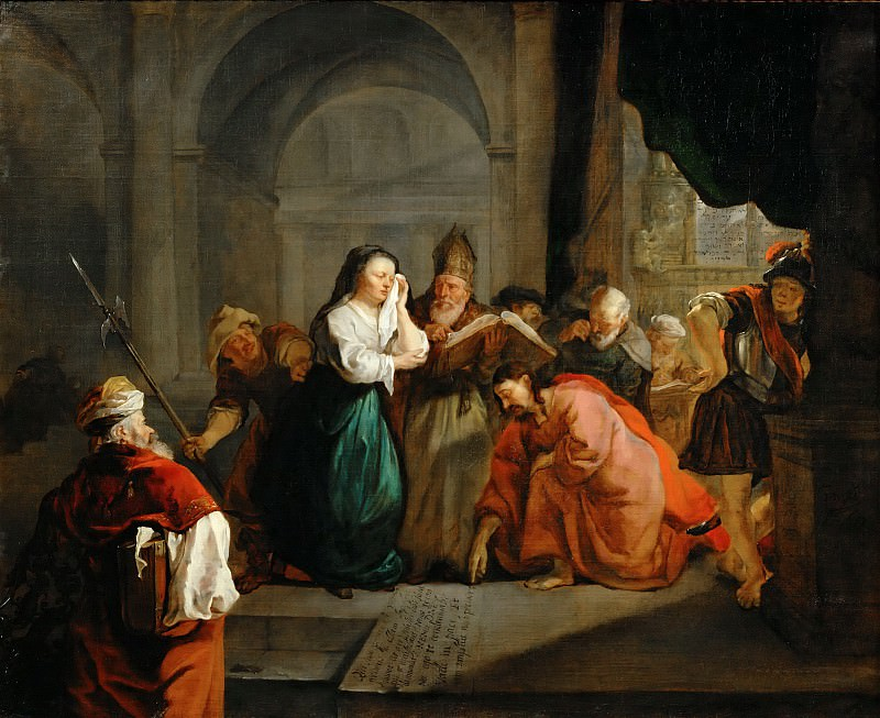 Gabriel Metsu -- Christ and the Adulteress. Part 5 Louvre