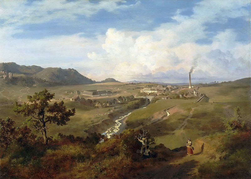 Eugenio Landesio -- View of a Valley in Mexico, with a Town in the Distance. Part 5 Louvre