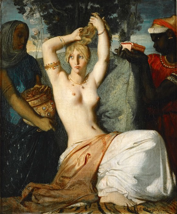 Théodore Chassériau -- The Toilet of Esther (Esther at her toilet before being presented to King Ahasuerus). Part 5 Louvre