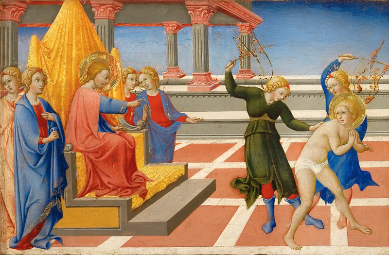 Sano di Pietro (1405-1481) -- Saint Jerome Dreaming of Christ Ordering His Flagellation by Two Angels. Part 5 Louvre
