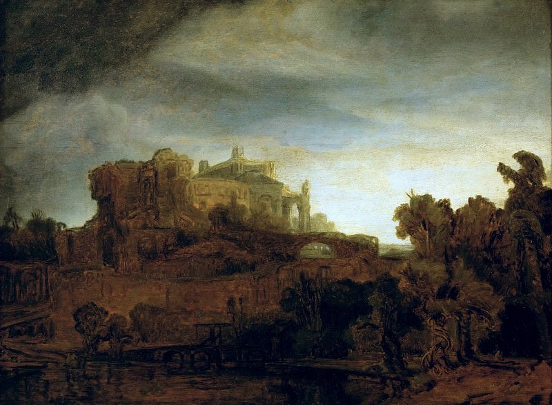 Rembrandt van Rijn -- Landscape with a Castle. Part 5 Louvre