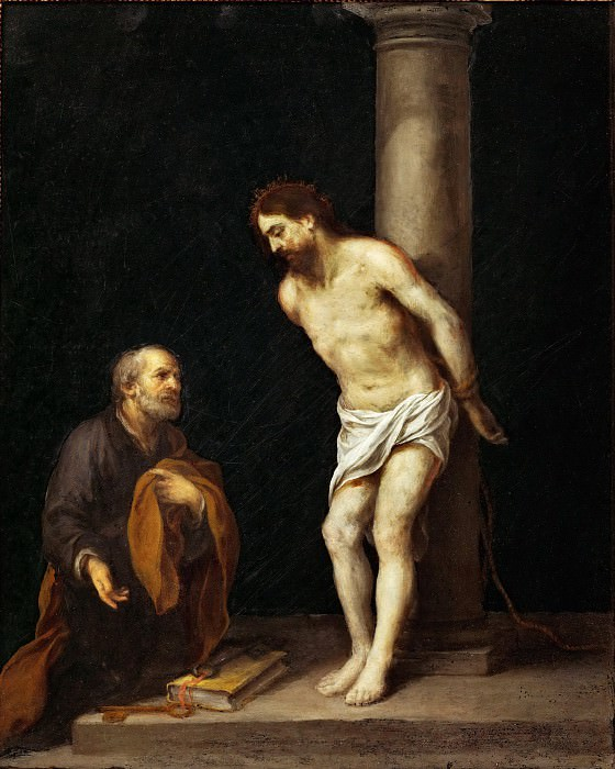 Bartolomé Estebán Murillo -- Christ at the Column with Saint Peter. Part 5 Louvre