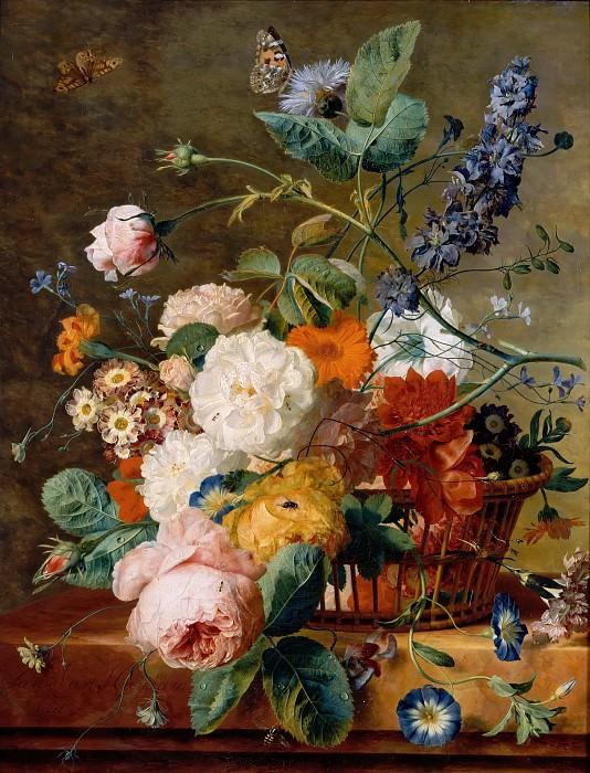 Jan Van Huysum -- Basket of Flowers with Butterflies. Part 5 Louvre