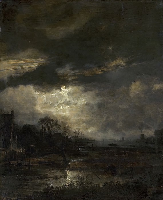 Aert van der Neer - Landscape at Sunset. Mauritshuis