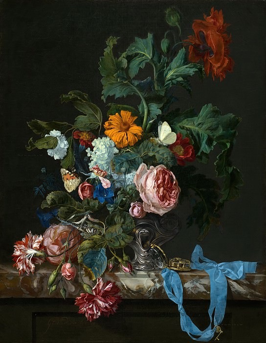 Willem van Aelst - Flower Still Life with a Timepiece. Mauritshuis