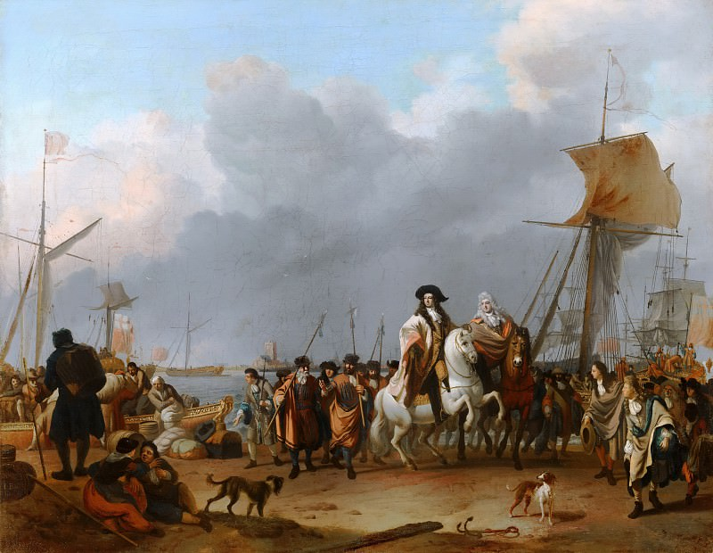 Ludolf Bakhuysen - The Arrival of Stadholder-King Willem III (1650- 1702) in the Oranjepolder on 31 January 1691. Mauritshuis
