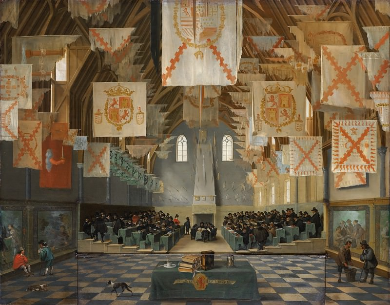 Bartholomeus van Bassen (attributed to) - Interior of the Great Hall on the Binnenhof in The Hague, during the Great Assembly of the States-General in 1651. Mauritshuis