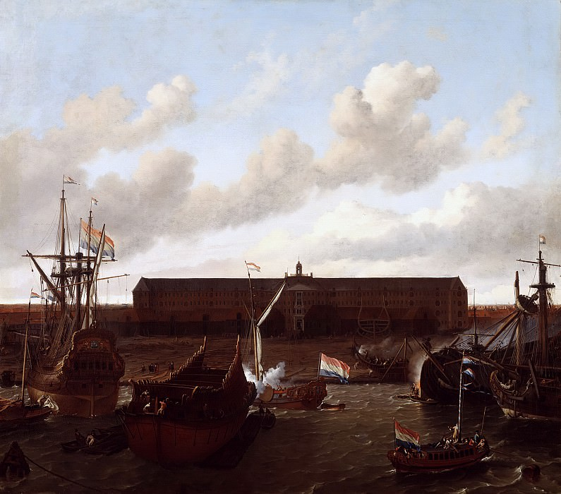 Ludolf Bakhuysen - The Shipyard of the Dutch East India Company at Amsterdam. Mauritshuis