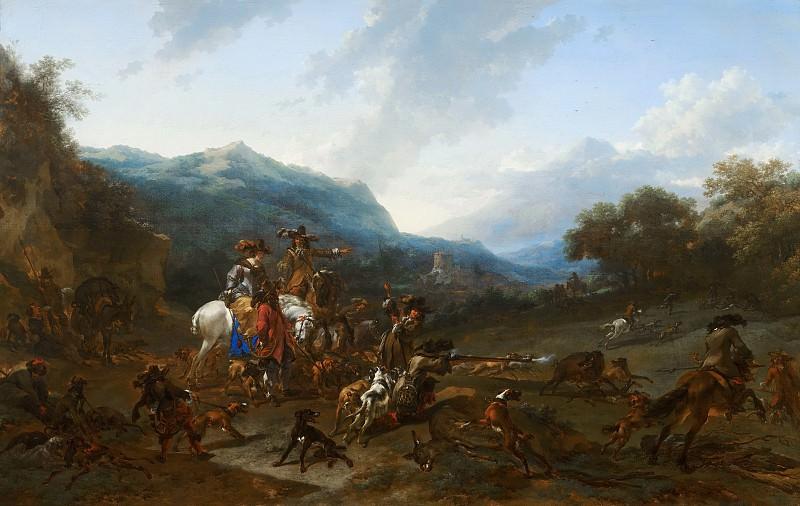 Nicolaes Pietersz. Berchem - Wild Boar Hunt. Mauritshuis
