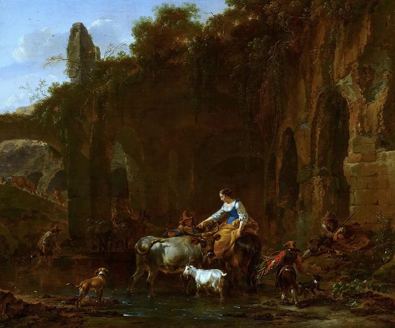 Shepherds beside Roman Ruins. Nicolaes (Claes Pietersz.) Berchem