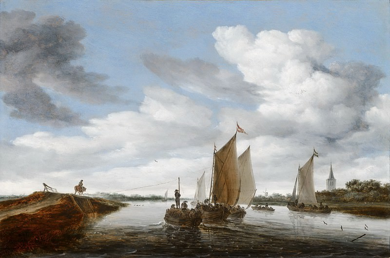 Salomon van Ruysdael - River Landscape with Sailing Boats and a Horse-Drawn Barge. Mauritshuis
