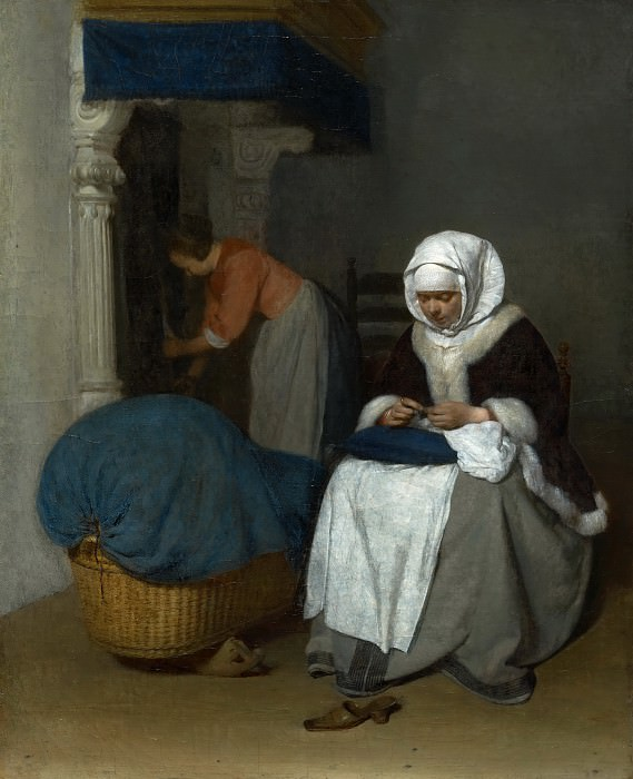 Gerard ter Borch - Woman Sewing beside a Cradle. Mauritshuis