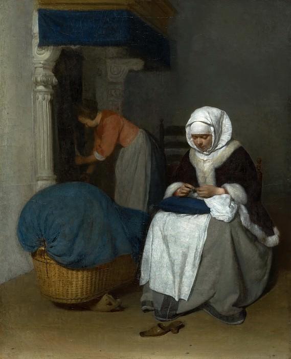 Терборх, Герард - Женщина за шитьем рядом с колыбелью. Маурицхёйс