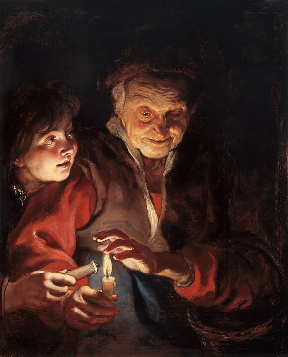 Peter Paul Rubens - Old Woman and Boy with Candles. Mauritshuis
