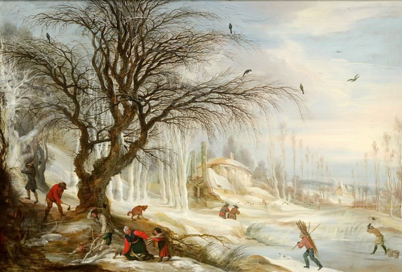 Gijsbrecht Leytens - Winter Landscape with Wood Gatherers. Mauritshuis