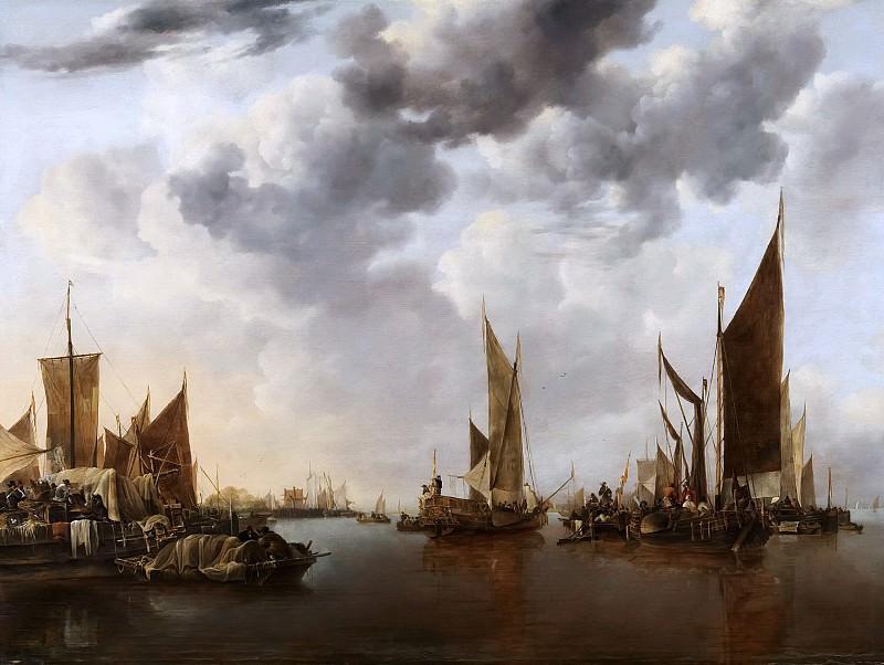 Jan van de Cappelle - Seascape with Ships. Mauritshuis