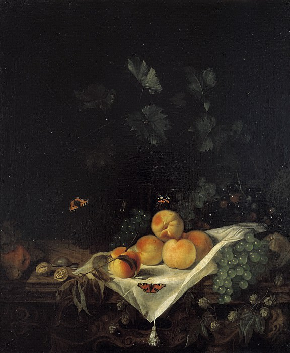 Abraham van Calraet - Still Life with Peaches and Grapes. Mauritshuis