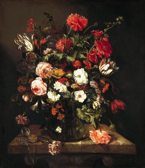 Беерен, Абрахам Ван - Цветочный натюрморт с часами. Маурицхёйс
