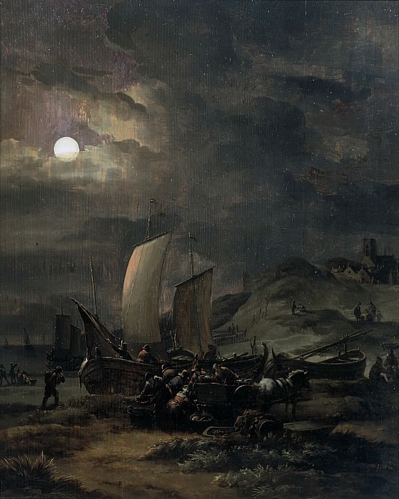 Egbert van der Poel - Fishing Boats on the Beach at Night. Mauritshuis