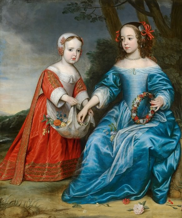 Gerrit van Honthorst - Double Portrait of Prince Willem III (1650- 1702) and his Aunt Maria, Princess of Orange (1642-1688), as Children. Mauritshuis