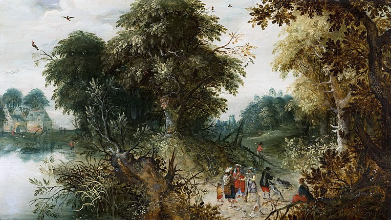 Abraham Govaerts - Forest View with Travellers. Mauritshuis
