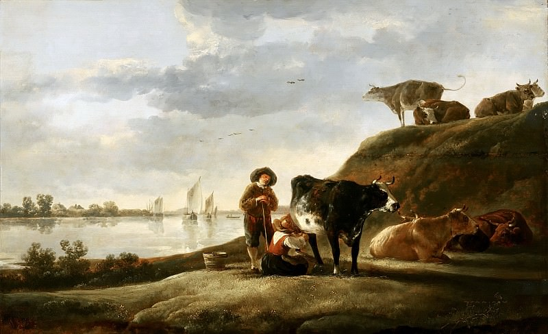 Aelbert Cuyp (manner of) - Cattle by a River. Mauritshuis