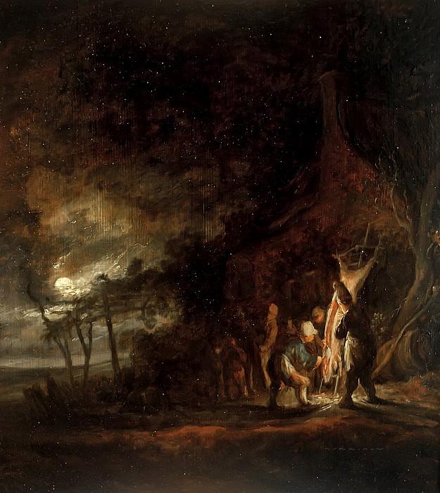 Cornelis Symonsz van der Schalcke - Slaughtered Pig in a Moonlit Landscape. Mauritshuis