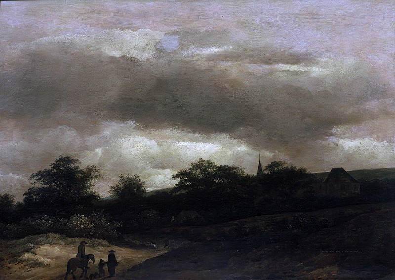 Guillaume du Bois - Dune Landscape with Road and Church. Mauritshuis