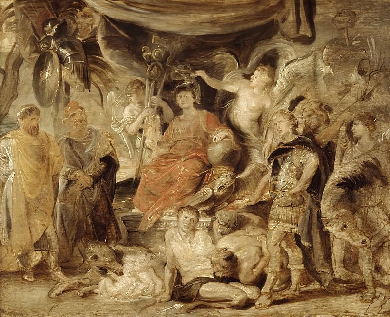 Peter Paul Rubens - The Triumph of Rome: The Youthful Emperor Constantine Honouring Rome. Mauritshuis