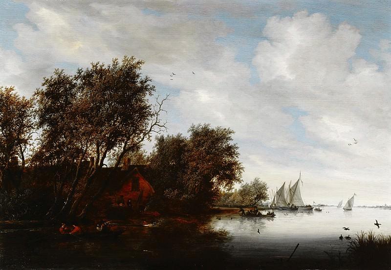 Salomon van Ruysdael - River View with a Man Hunting Ducks. Mauritshuis