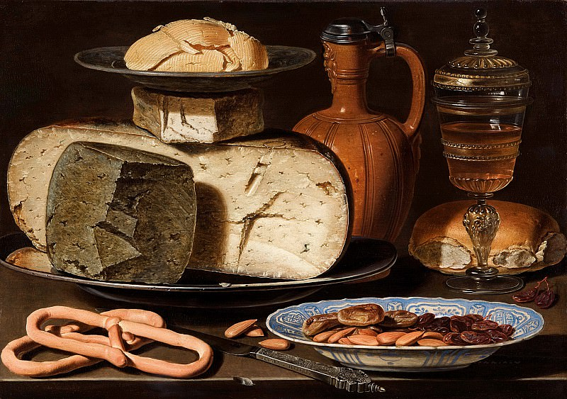 Clara Peeters - Still Life with Cheeses, Almonds and Pretzels. Mauritshuis