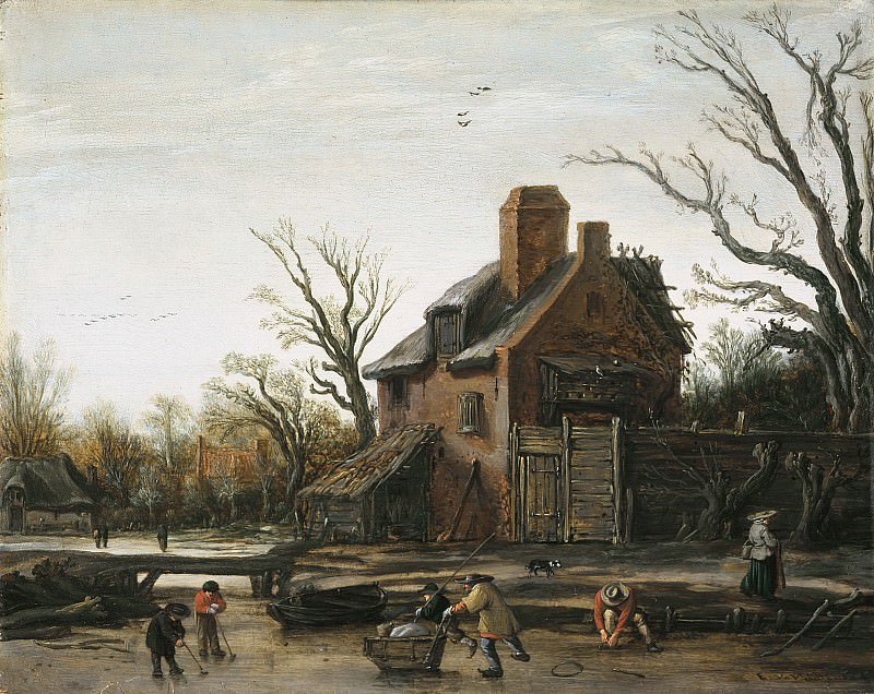 Esaias van de Velde - Winter Landscape with Farmhouse. Mauritshuis