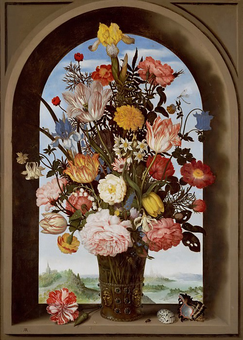 Ambrosius Bosschaert the Elder - Vase of Flowers in a Window. Mauritshuis