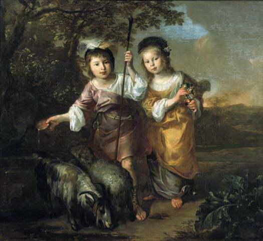 Bernard Zwaerdecroon - Portrait of Two Children Dressed as Shepherds. Mauritshuis