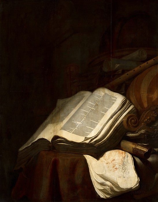 Jan Vermeulen - Still Life with Books and Musical Instruments. Mauritshuis