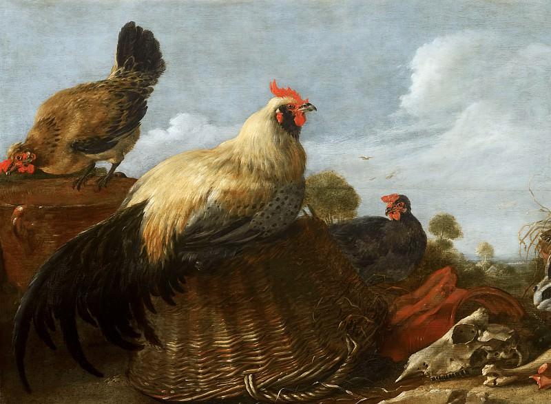 Gijsbert Gillisz d' Hondecoeter - Cock and Hens in a Landscape. Mauritshuis