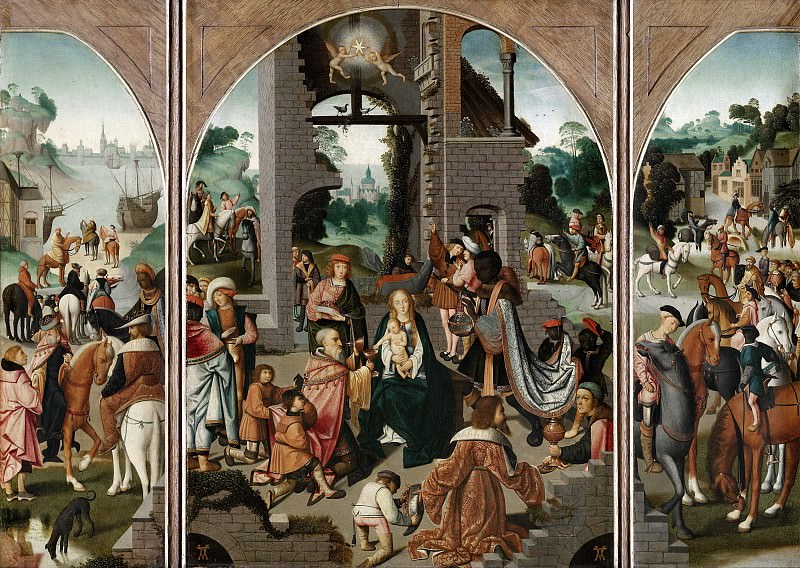 Master of Alkmaar (follower of or after) - Triptych with the Adoration of the Magi. Mauritshuis