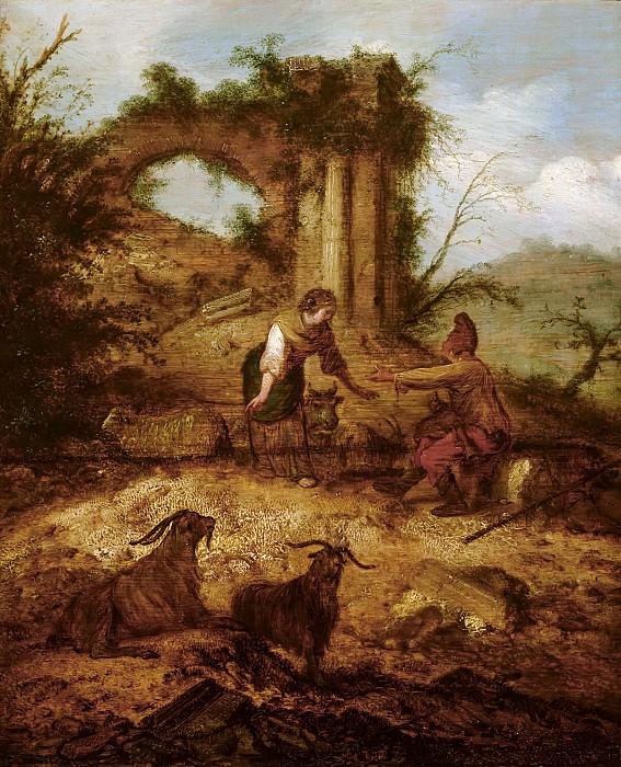 Манкадан, Якоб Сибранди - Пейзаж с пастухом и пастушкой. Маурицхёйс