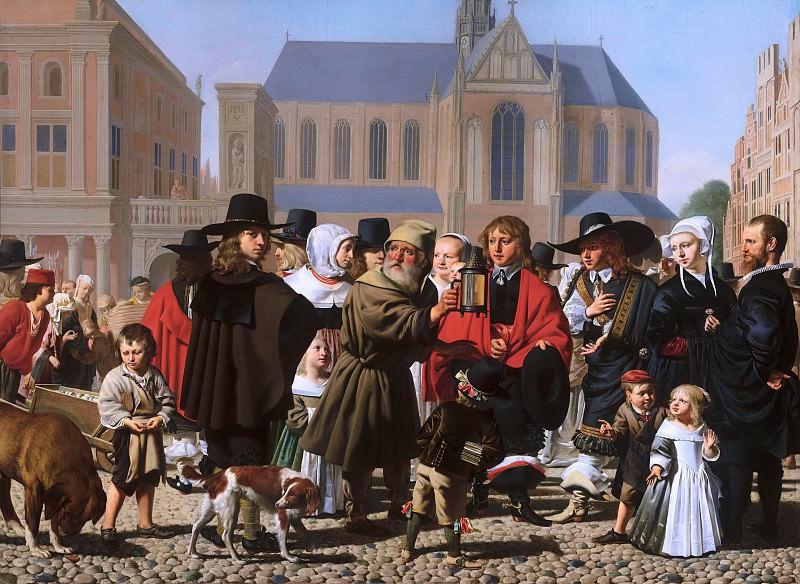 Caesar van Everdingen - Diogenes Looking for an Honest Man (Portrait Historié of the Steyn Family). Mauritshuis