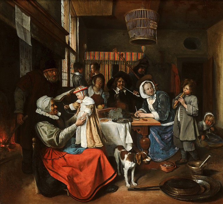 Jan Steen - 'As the Old Sing, so Pipe the Young'. Mauritshuis