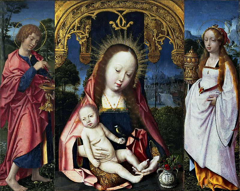Jan Provoost - Triptych with the Virgin and Child, John the Evangelist and Mary Magdalene. Mauritshuis