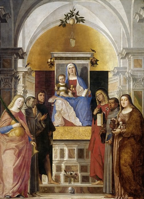 Marcello Fogolino - Madonna and Child, Enthroned, with Six Saints. Mauritshuis