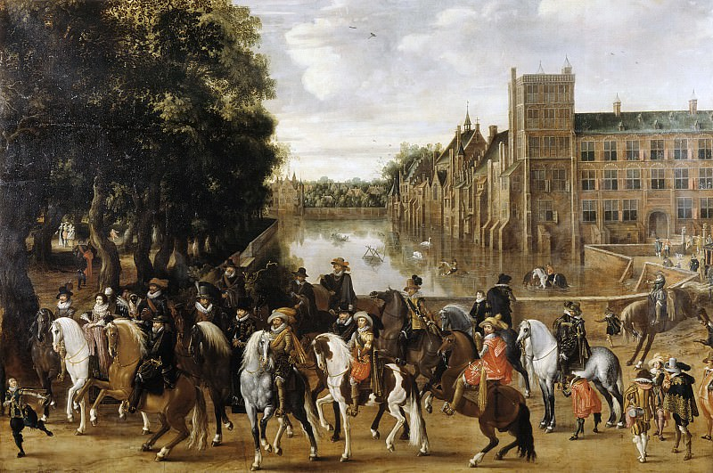 Pauwels van Hillegaert - The Princes of Orange and their Families on Horseback, Riding Out from The Buitenhof, The Hague. Mauritshuis