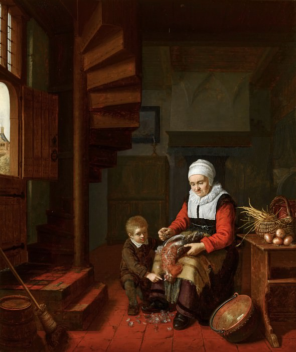 Abraham de Pape - Old Woman Plucking a Cock. Mauritshuis