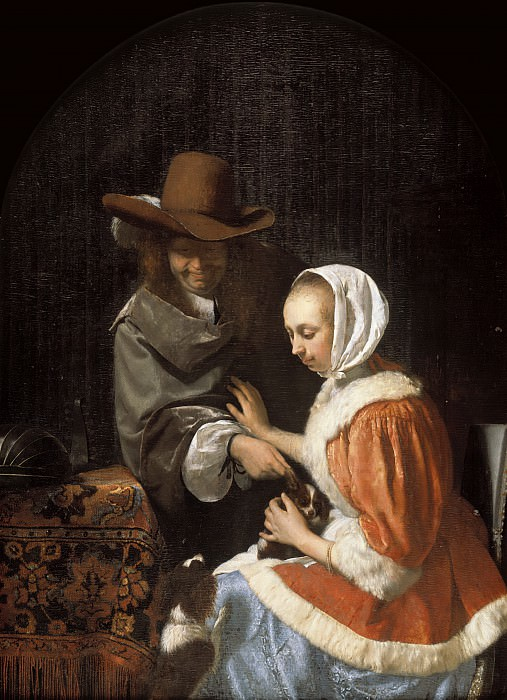 Frans van Mieris the Elder - Man and Woman with Two Dogs, ('Teasing the Pet'). Mauritshuis