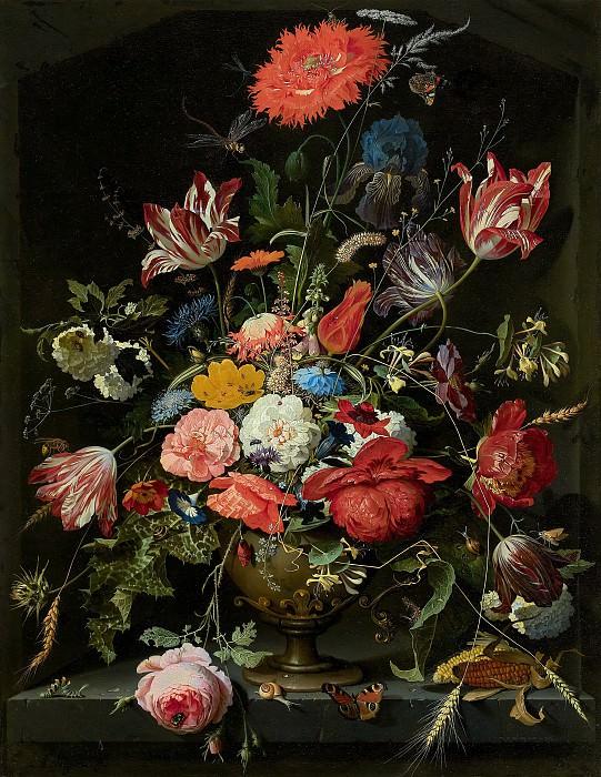 Abraham Mignon - Flowers in a Metal Vase. Mauritshuis