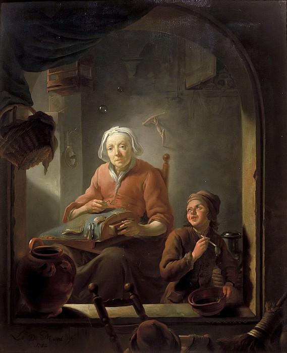 Louis de Moni - A Lacemaker, with a Boy Blowing Bubbles. Mauritshuis