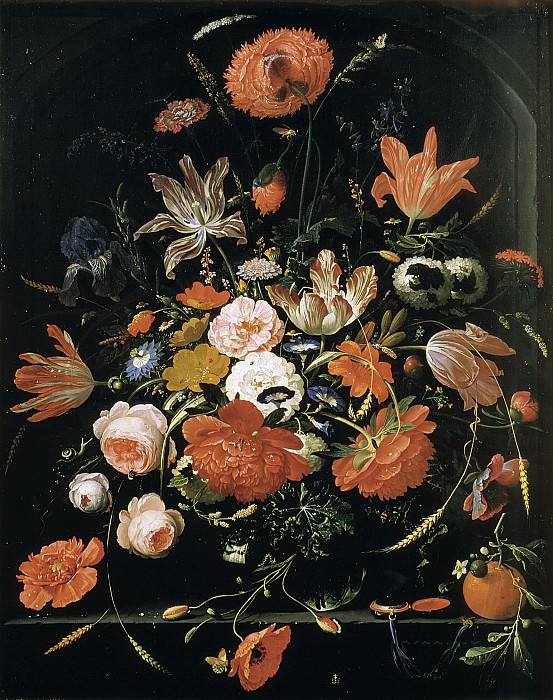 Abraham Mignon - Flowers in a Glass Vase. Mauritshuis